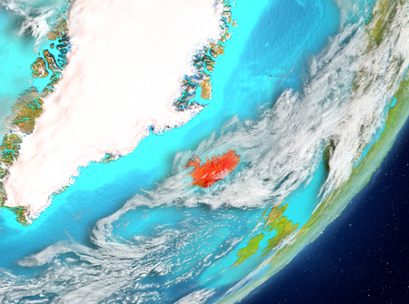 Satellite view of Iceland highlighted in red on planet Earth with clouds. 3D illustration. Stock Photo