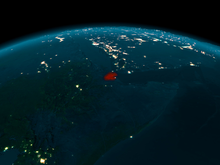 Country of Djibouti in red on planet Earth at night. 3D illustration.