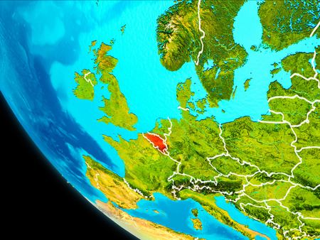 Belgium highlighted in red on planet Earth with visible borders. 3D illustration.
