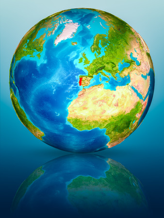Portugal in red on model of planet Earth on reflective blue surface. 3D illustration.