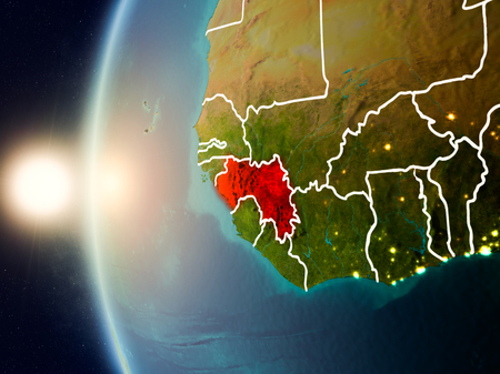 Illustration of Guinea as seen from Earth's orbit during sunset with visible country borders. 3D illustration.