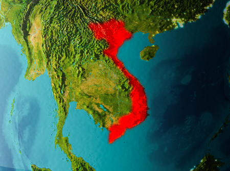 Vietnam in early morning light highlighted in red on planet Earth. 3D illustration.