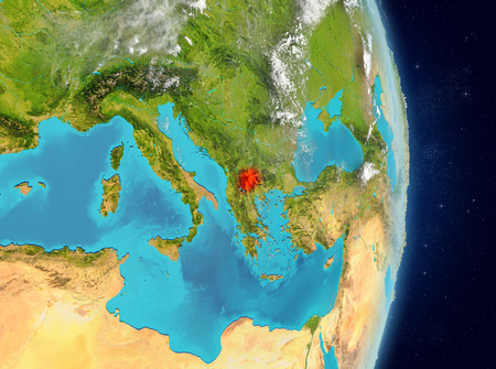 Space view of Macedonia highlighted in red on planet Earth with atmosphere. 3D illustration. Stock Photo