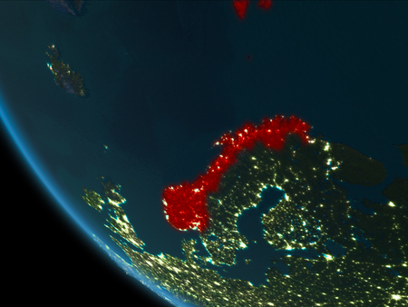 Norway from orbit of planet Earth at night with highly detailed surface textures. 3D illustration. Stock Photo