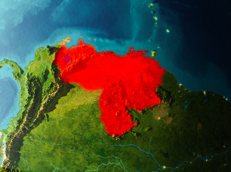Venezuela in early morning light highlighted in red on planet Earth. 3D illustration. Stock Photo