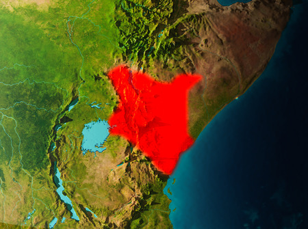 Kenya in early morning light highlighted in red on planet Earth. 3D illustration.
