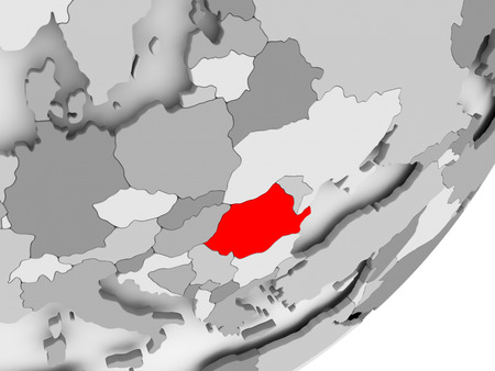 Illustration of Romania highlighted in red on grey globe. 3D illustration.