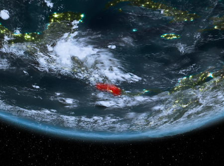 Costa Rica at night highlighted in red on planet Earth with clouds. 3D illustration.