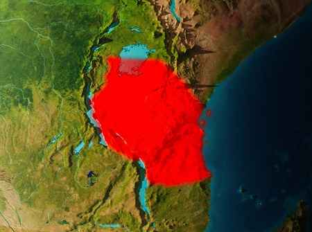 Tanzania in early morning light highlighted in red on planet Earth. 3D illustration.