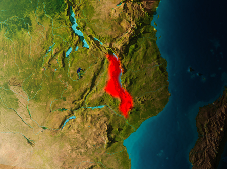 Malawi in early morning light highlighted in red on planet Earth. 3D illustration.