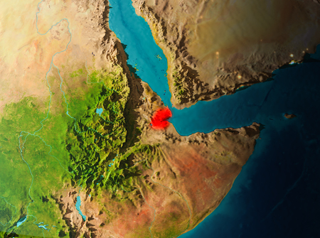 Djibouti in early morning light highlighted in red on planet Earth. 3D illustration.