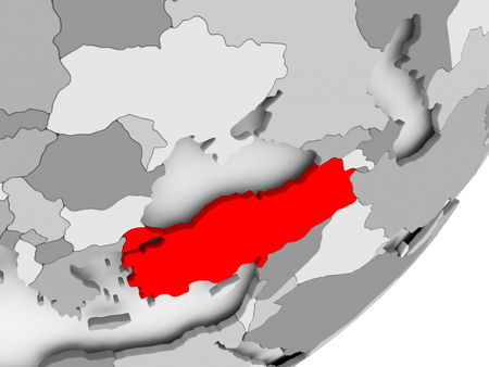 Illustration of Turkey highlighted in red on grey globe. 3D illustration.