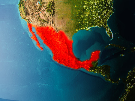 Mexico in early morning light highlighted in red on planet Earth. 3D illustration.