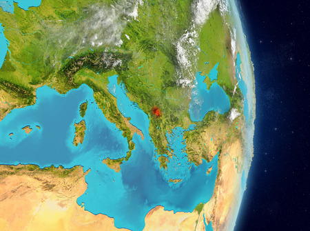 Space view of Kosovo highlighted in red on planet Earth with atmosphere. 3D illustration.