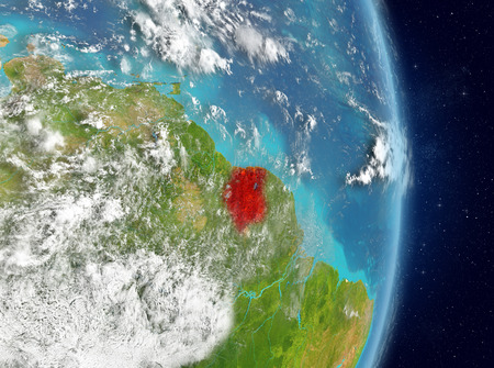 Space view of Suriname highlighted in red on planet Earth with atmosphere. 3D illustration. Stockfoto