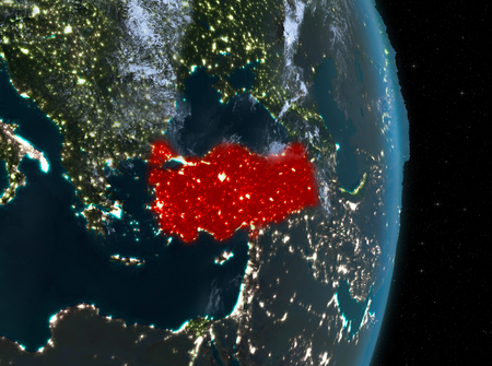 Turkey from orbit of planet Earth with clouds at night with highly detailed surface textures. 3D illustration. .