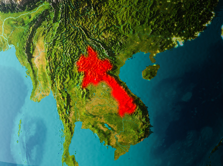 Laos in early morning light highlighted in red on planet Earth. 3D illustration.
