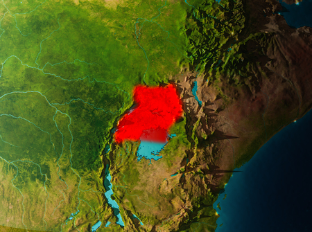 Uganda in early morning light highlighted in red on planet Earth. 3D illustration.
