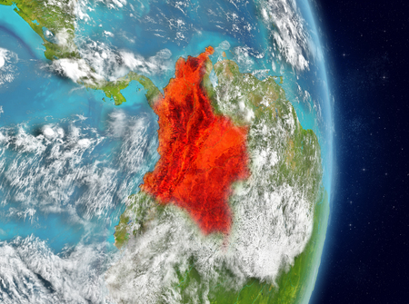 Space view of Colombia highlighted in red on planet Earth with atmosphere. 3D illustration. Reklamní fotografie