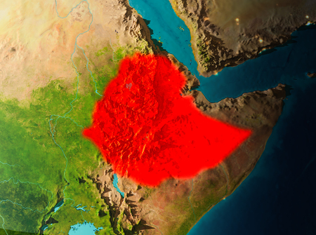 Ethiopia in early morning light highlighted in red on planet Earth. 3D illustration.