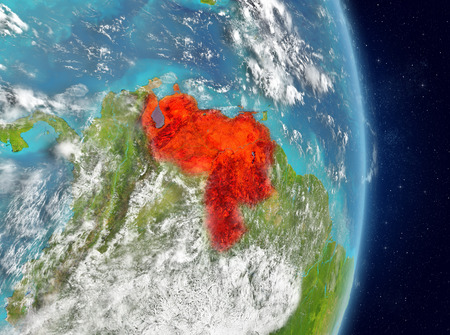 Space view of Venezuela highlighted in red on planet Earth with atmosphere. 3D illustration. Stock Photo