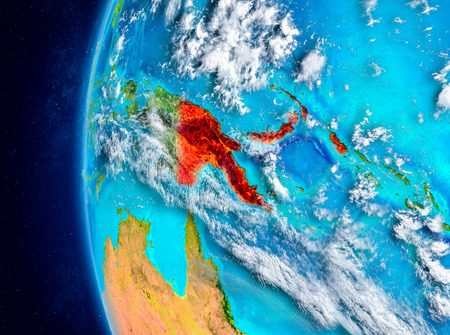 Map of Papua New Guinea as seen from space on planet Earth with clouds and atmosphere. 3D illustration. Stock Illustration - 98118723
