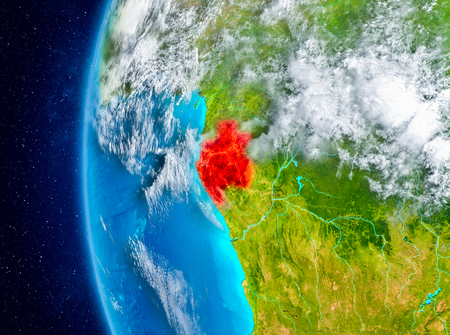 Map of Gabon as seen from space on planet Earth with clouds and atmosphere. 3D illustration.