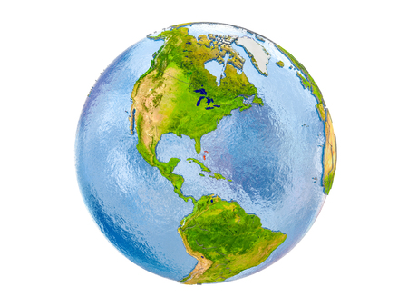 Bahamas highlighted in red on model of Earth. 3D illustration isolated on white background.