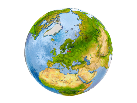 Latvia highlighted in red on model of Earth. 3D illustration isolated on white background. Stock Photo
