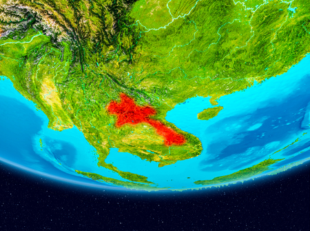 Laos from orbit of planet Earth. 3D illustration.