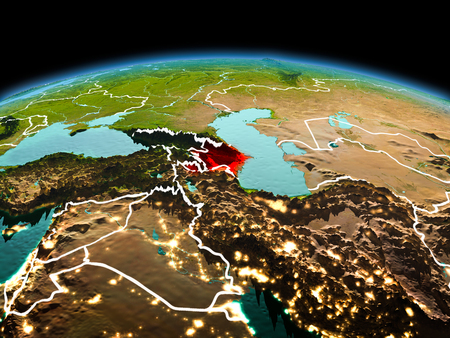 Morning above Azerbaijan highlighted in red on model of planet Earth in space with visible border lines and city lights. 3D illustration. Stock Photo