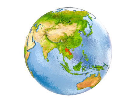 Laos highlighted in red on model of Earth. 3D illustration isolated on white background. Stock Photo