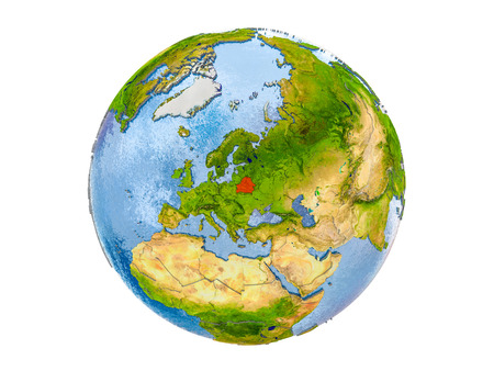 Belarus highlighted in red on model of Earth. 3D illustration isolated on white background.