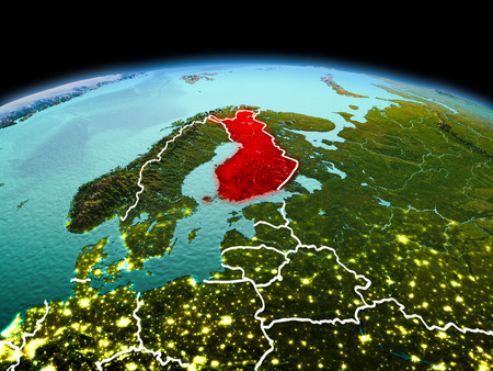 Morning above Finland highlighted in red on model of planet Earth in space with visible border lines and city lights. 3D illustration.
