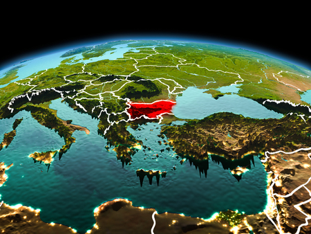 Morning above Bulgaria highlighted in red on model of planet Earth in space with visible border lines and city lights. 3D illustration.
