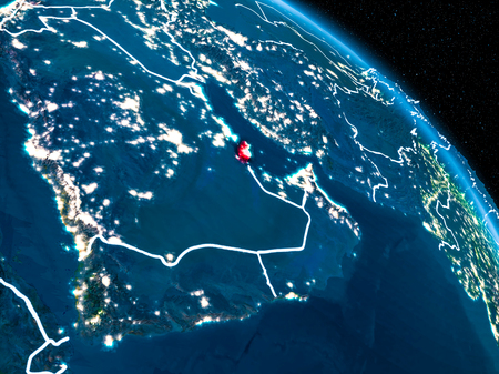 Satellite view of Qatar highlighted in red on planet Earth at night with borderlines and city lights. 3D illustration.