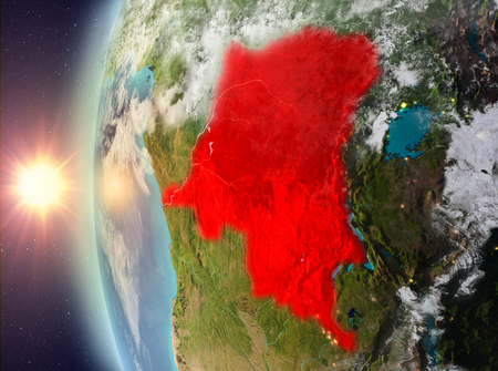 Democratic Republic of Congo as seen from space on planet Earth during sunset. 3D illustration. Stock Photo