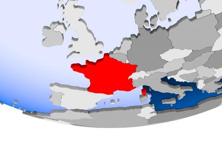 France on 3D model of political globe with transparent oceans. 3D illustration.