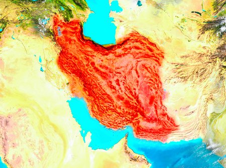 Iran highlighted in red on planet Earth. 3D illustration.