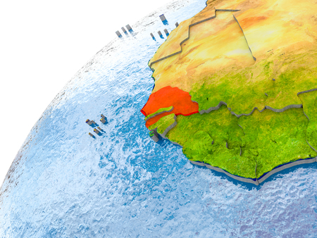 Senegal on simple globe with visible country borders and realistic water in the oceans. 3D illustration.