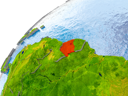 Suriname on simple globe with visible country borders and realistic water in the oceans. 3D illustration. Stock Photo