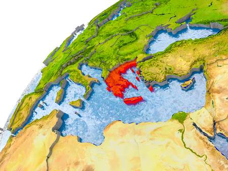 Greece on simple globe with visible country borders and realistic water in the oceans. 3D illustration.