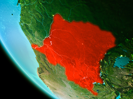 Country of Democratic Republic of Congo in red on planet Earth in the evening. 3D illustration. Stock Photo
