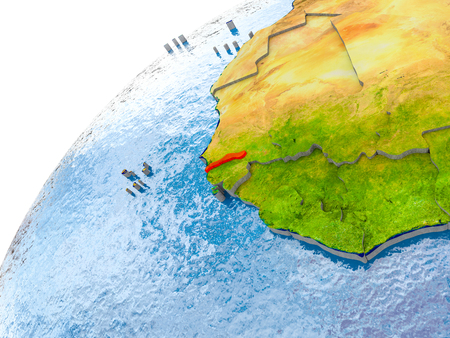 Gambia on simple globe with visible country borders and realistic water in the oceans. 3D illustration. Stock Photo