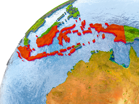 Indonesia on simple globe with visible country borders and realistic water in the oceans. 3D illustration. Stock Photo