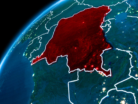 Democratic Republic of Congo highlighted in red from Earth's orbit at night with visible country borders. 3D illustration.