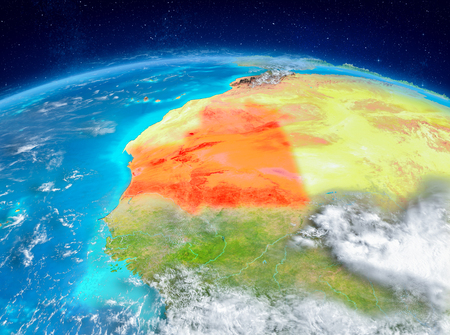 Orbit view of Mauritania highlighted in red on planet Earth with highly detailed surface textures. 3D illustration.