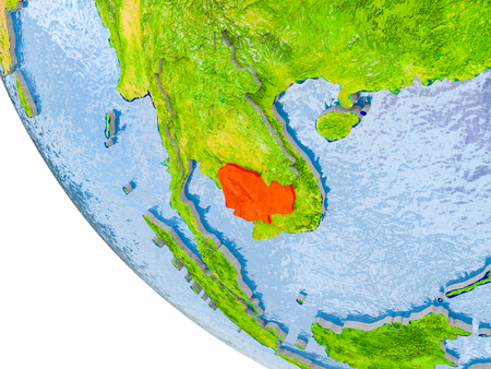 Map of Cambodia in red on globe with real planet surface, embossed countries with visible country borders and water in the oceans. 3D illustration.