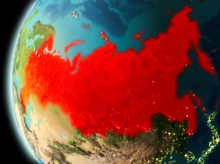Illustration of Russia as seen from Earth's orbit in late evening. 3D illustration. Stock Photo