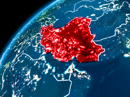 Iran highlighted in red from Earth's orbit at night with visible country borders. 3D illustration.